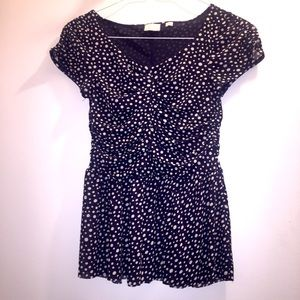Anthropologie Postage Stamp Polka Dot Top